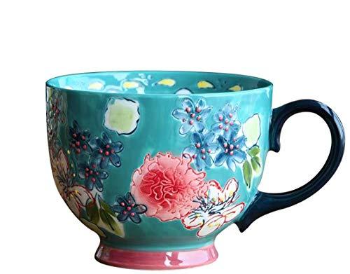 MugDisne qecdp* Teetassen Europäisch geprägtes handbemaltes Keramikgeschirr Frühstückstasse Kreativbecher Kaffeetasse Haferflockenbecher 400ml-500ml