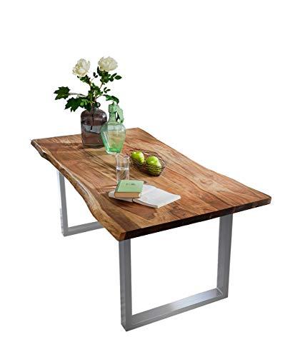 SAM® Stilvoller Esszimmertisch Quarto 160 x 85 cm, nussbaumfarbig, Akazienholz-Tisch mit Silber lackierten Beinen, Baum-Tisch mit naturbelassener Optik -