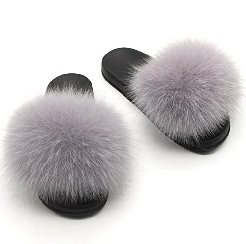 Twgdh sandali infradito in pelliccia sintetica flip flop da donna per interni slip on mega fluffy sandali con ciabatte,gray,35