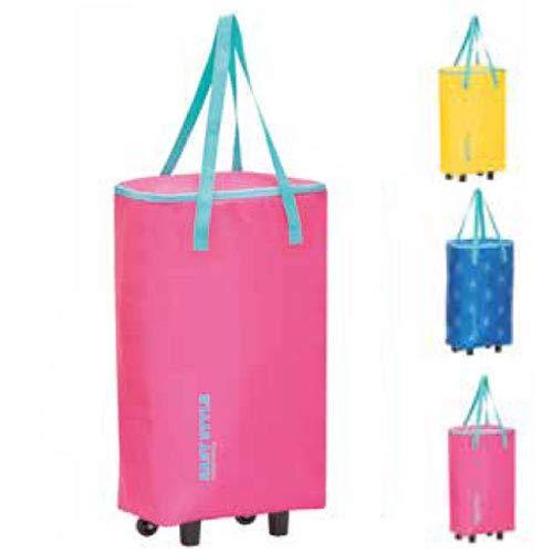 Giostyle trolley borsa termica frigo porta alimenti capacità 44 litri in tessuto impermeabile con manici e ruote 3 colori assortiti