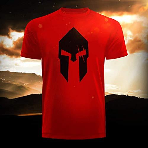 itiert Fitnessbekleidung Shorts T-Shirt Training Sport Bodybuilding Fitness Freizeit (3XL, Spartan Red Long Tee) ()