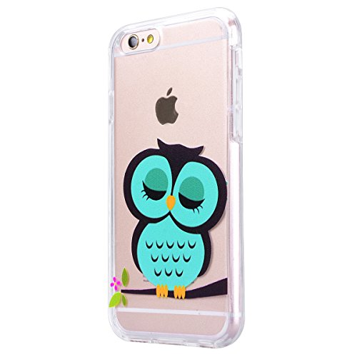 Yokata iPhone 6 / iPhone 6s Hülle Transparent Weich Silikon TPU Soft Case Protective Cover Handyhülle Schutzhülle Durchsichtig Clear Backcover Bumper mit Single Horned Cat Muster + 1 x Kapazitive Fede Schlafende Eule