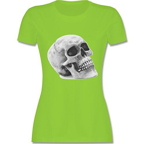 Piraten & Totenkopf - Totenkopf Skull - tailliertes Premium T-Shirt mit Rundhalsausschnitt für Damen Hellgrün
