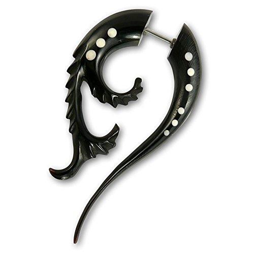 Fly Style - 1 Stück - Verschiedene Modelle Fake Plug Spirale Piercings aus Holz, Horn oder Knochen, Modell:Venus Fly Trap Hornspirale