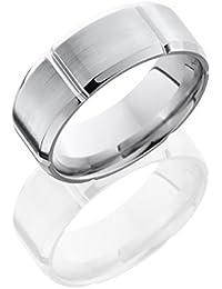 Cobalt Chrome, Cross Engraved Wedding Band Satin Center (sz H to Z1)