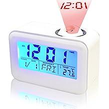 Projektion Wecker, Hangrui Digital LED Voice Broadcast Sound Control Vibrating Bright Screen Stündliche Glockenspieluhr mit Temperaturalarm Snooze Batteriebetrieben (nicht im Lieferumfang enthalten)