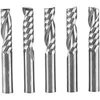 Molino de extremo de una sola flauta, 5pcs 6 mm vástago de alta velocidad Carburo de tungsteno Fresa Cortadora en espiral CNC Fresas para corte de acrílico, PVC, MDF