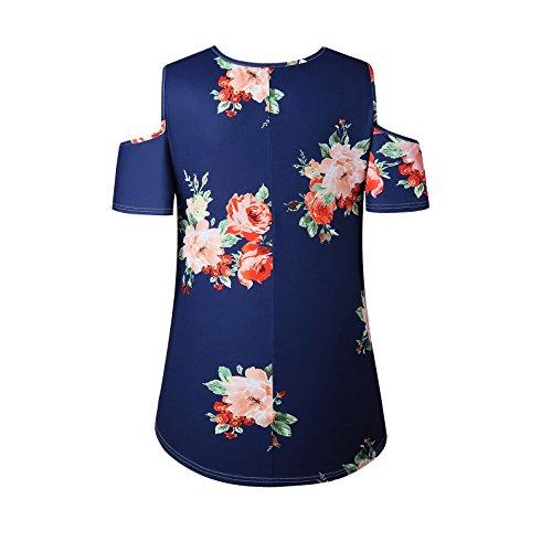 Frauen Mode V-Ausschnitt Kurzarm Trägerlos Geblümt Print Loose Beiläufige Oberteile Blusenbody Top tops T-shirt Blau