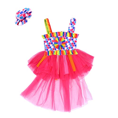 (BESTOYARD Kinder Mädchen Halloween Clown Kostüm Verkleidung Kleider Set mit Hut für Maskerade Karneval Weihnachten Party (M))