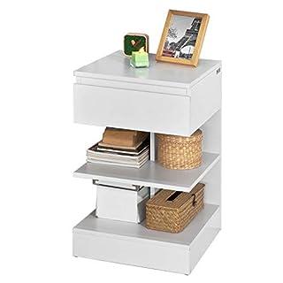 SoBuy FBT49-W Table de chevet Table d'appoint Bout de Canapé avec 1 tiroir et 2 étagères de rangement