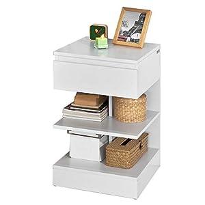 SoBuy® FBT49-W Beistelltisch Nachttisch Nachtschrank Kommode mit 1 Schublade und 3 Ablagen, weiß, BHT ca: 39x65x39cm