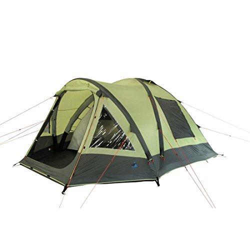 10T Camping-Zelt Ceres 5 aufblasbares AirTube Kuppelzelt mit Schlafkabine für 5 Personen Outdoor Familienzelt mit Wohnraum, eingenähte Bodenwanne, wasserdicht mit 5000mm Wassersäule inkl. Pumpe -