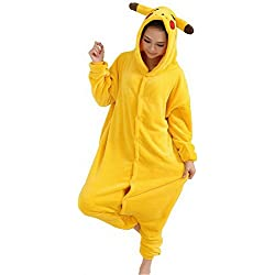 Emmarcon - Disfraz de carnaval halloween pijama cálido de animales kigurumi cosplay zoológico onesies L/altezza 170-179cm,max 100kg Pikachu