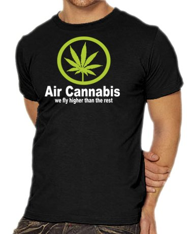 Touchlines Unisex/Herren Air Cannabis - We fly higher than the rest B1541 T-Shirt black XXL