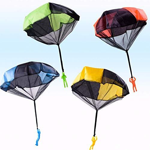 4 Stück Hand Wirf Fallschirm Männer Spielzeug, Tangle Free Wurf Spielzeug Fallschirm, Wurf It Up and Watch Landung, Außen- Fliegend Spielsachen für Kinder, No Strings Keine Batterien