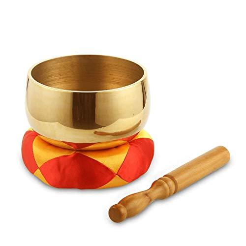 Buddha Klangschale Gongs Tibetisch-Buddhistische Yoga-Schüssel Liefert Meditationsschale Chinesische Klangschale + Cane + Kissen (Color : Metallic, Größe : 15cm)