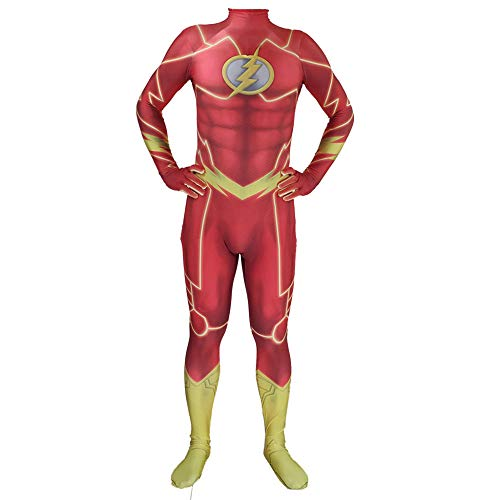 Kind Erwachsener Flash Kostüm Cosplay Onesies Superhelden Halloween Mottoparty 3D Druck Strumpfhosen,Adult-M