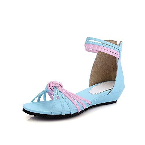 VogueZone009 Donna Cerniera Tacco Basso Luccichio Colore Assortito Sandali Azzurro