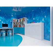 Cama plegable de 120cm horizontalcolor blanco frente brillantecama plegable & cama de pared SMARTBett con SMART Punkt colchón de espuma fría