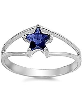 Ring aus Sterlingsilber mit Zirkonia - Stern