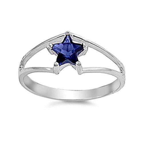 Ring aus Sterlingsilber mit Zirkonia - Stern (14k Stein Blau Männer Für Gold Ring)