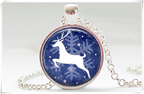 Weiss Weihnachten Rentier Silhouette Running in Snow Anhänger Weihnachten Geschenk (Running-silhouette)