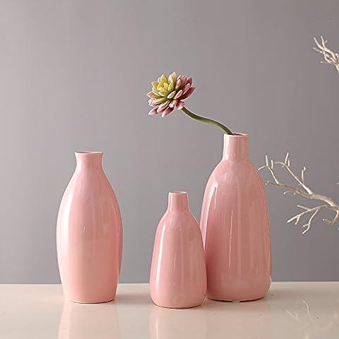 3 pezzo di arredamento per la casa home artigianato vasi in ceramica vasi da fiori decorazione (rosa)