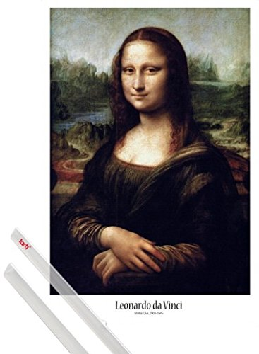 1art1® Póster + Soporte: Leonardo Da Vinci Póster (91x61 cm) La Gioconda Y 1 Lote De 2 Varillas Transparentes