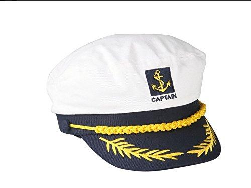 xinyiwei Classic Navy Captain Kostüm Yacht Gap Stickerei Sailor Hat–Weiß