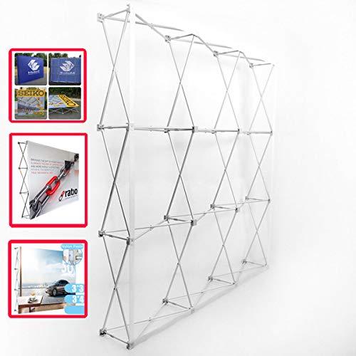 Evieun Alluminio Pop-up Display Background Stand Support System Mostre Espositori Pop-up Banner,Miglior uso mostre interne, eventi, negozi, centri commerciali e molto altro ancora 3X4