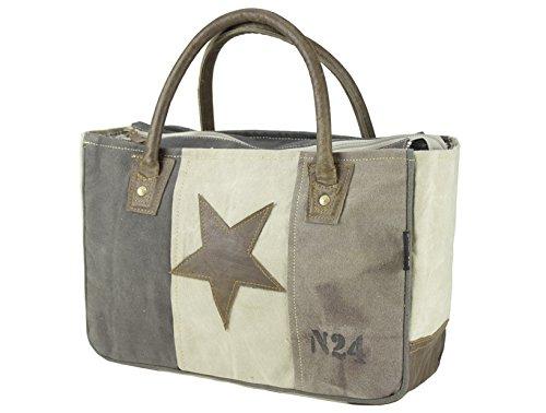 Sunsa Damen Vintage Tasche Canvas Handtasche Korbtasche fahrradtaschen 33x23x12cm