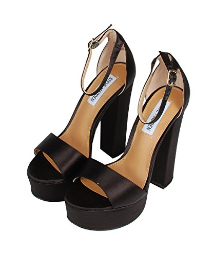 Steve Madden Gonzo-F Black Satin Sandals - Sandali Neri In Neoprene Black