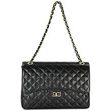 42a6f9ff85ccc Echt Leder Handtasche Damentasche Umhängetasche Abendtasche gesteppt -  32x22x10 cm (