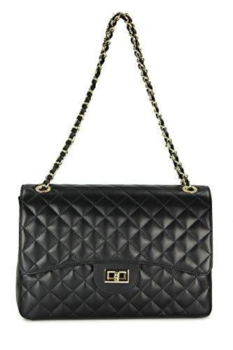 """BELLI """"Paris Big"""" ital. Echt Leder Handtasche Damentasche Umhängetasche Abendtasche gesteppt - 32x22x10 cm (B x H x T) Schwarz"""
