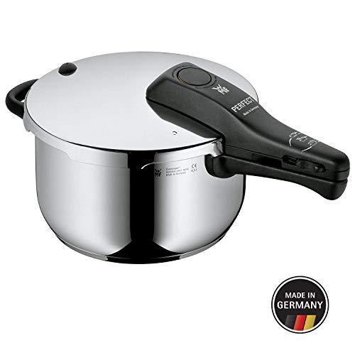 WMF Perfect Schnellkochtopf, 4,5l, 22 cm, Cromargan Edelstahl poliert, 2 Kochstufen, Einhand-Kochstufenregler, Induktion