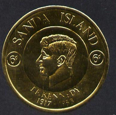 Sanda Island 1965 J F Kennedy 6d coin shaped in gold foil with background colour (mauve) omitted unmounted mint