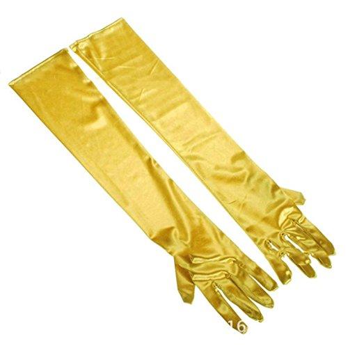 HuntGold 1 Paar lange Satin-Clutch Party Dance Kleid Cocktail-Steinen Finger Handschuhe (gold) Satin Cocktail Kleid