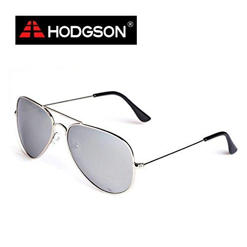 HODGSON Pilotenbrille Polarisierte Sonnenbrille UV400 Schutz Metallrahmen Verspiegelt Linse Unisex Aviator Sonnenbrille (F3025C6-Silver)