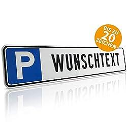 Betriebsausstattung24 Individuelles Parkplatzschild mit Wunschprägung | KFZ-Kennzeichen | für Ihren Parkplatz | Aluminium geprägt | Originalmaße 52,0 x 11,0 cm