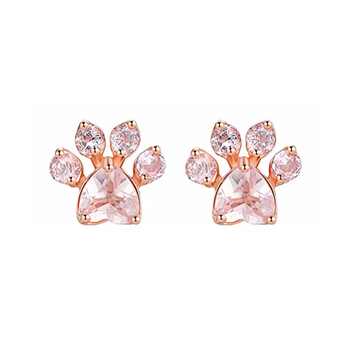 1 Pair Simple Footprint Shape Pink Crystal Stone Zircon Rose Gold Earrings Ear Studs Rings (Rose Gold)