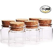 Fiesta Contigo– 36 Unidades Mini Botellas de Cristal con Tapones de Corcho/Mensaje/