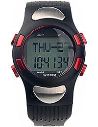 LEORX Ver calorías contador Digital pulsómetro con podómetro cronómetro resistente al agua (rojo)