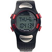 LEORX Heart Rate Monitor Watch Calorie Counter Digital Watch with Pedometer Stopwatch Waterproof (Red)