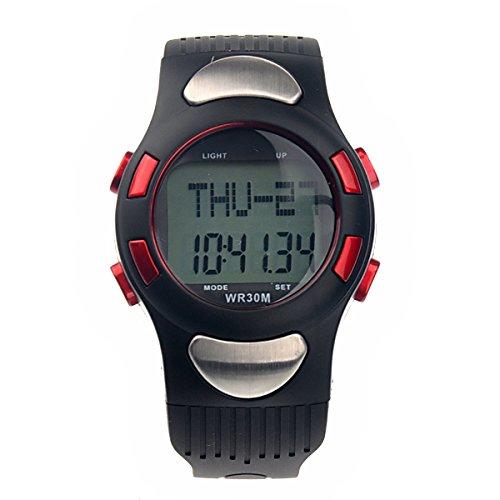 LEORX, Orologio cardiofrequenzimetro contacalorie digitale con orologio, cronometro, contapassi, colore: rosso