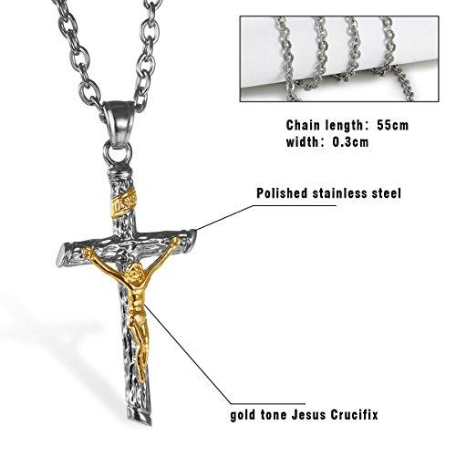 Edelstahl Herren Kreuz Anhänger Jesus Christus Halskette für Männer gold silber , OIDEA vintage Anhänger mit 55cm Königskette Kette - 2