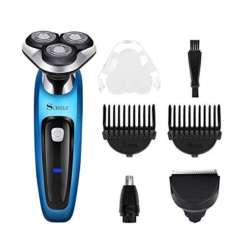 Surker 3in1 rasoio elettrico a testine rotanti wet e dry regolabarba rifinitore regolatore barba tagliacapelli naso trimmer blu e nero