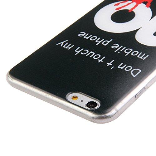 Ekakashop Mode TPU Silicone Souple Cover Case de Protection pour iphone 6 Plus/6s Plus 5.5 Pouces, Jolie Dessin Couleur imprimé Motif de Animale Mignon Chiot [Scratch-Resistant] [Perfect Fit] Crystal  don't touch my phone