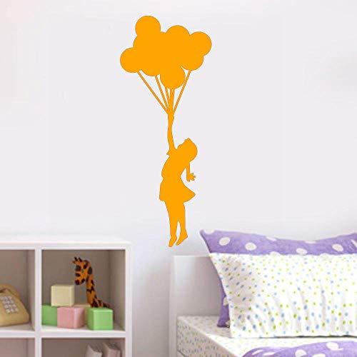 jiushizq Ballon Mädchen Vinyl Wandaufkleber Cartoon Wohnkultur Schlafzimmer DIY Wandkunst Aufkleber 3 42x106 cm