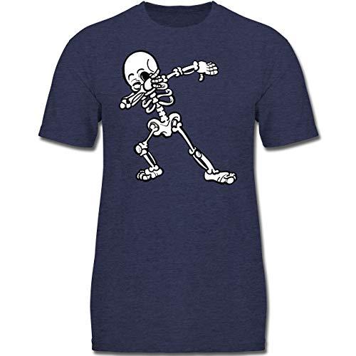 bbing Skelett - 128 (7-8 Jahre) - Dunkelblau Meliert - F130K - Jungen Kinder T-Shirt ()