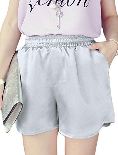 Damen Schick Gummibund Zwei Neigung Taschen Shorts - Silberton, Damen, XS (EU 34) (Taille Steigen Hoch)